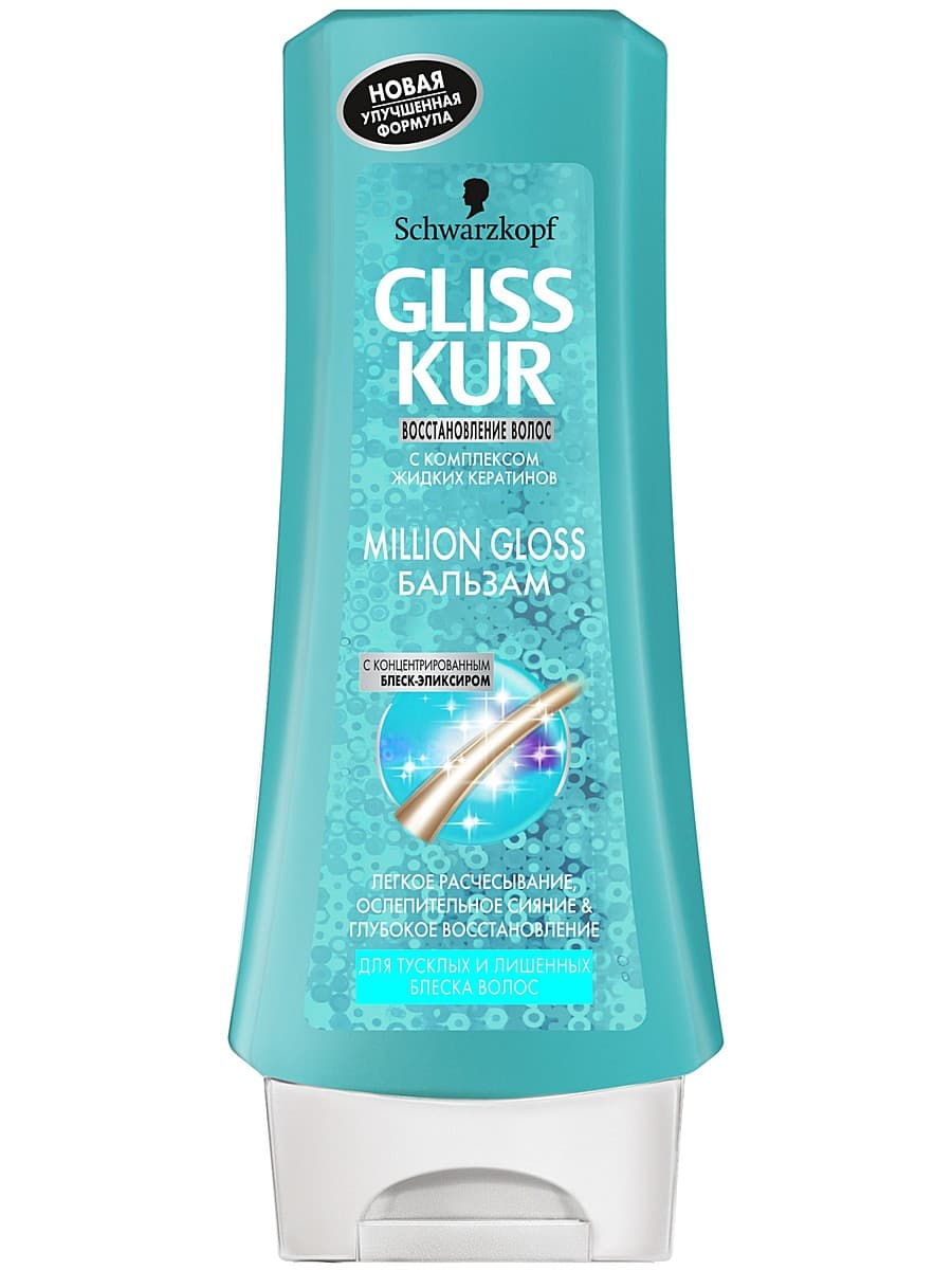Gliss Kur Million Gloss БальзамБальзамы<br>Бальзам  MILLION GLOSS  от GLISS KUR  Специальная восстанавливающая формула с концентрированным блеск-эликсиром и с технологией ламинирования придает тусклым волосам длительный ослепительный блеск  Бальзам с технологией ламинирования идеально дополняет действие шампуня  Он придает интесивное сияние и обеспечивает легкое расчесывание<br>Type: 200 мл;