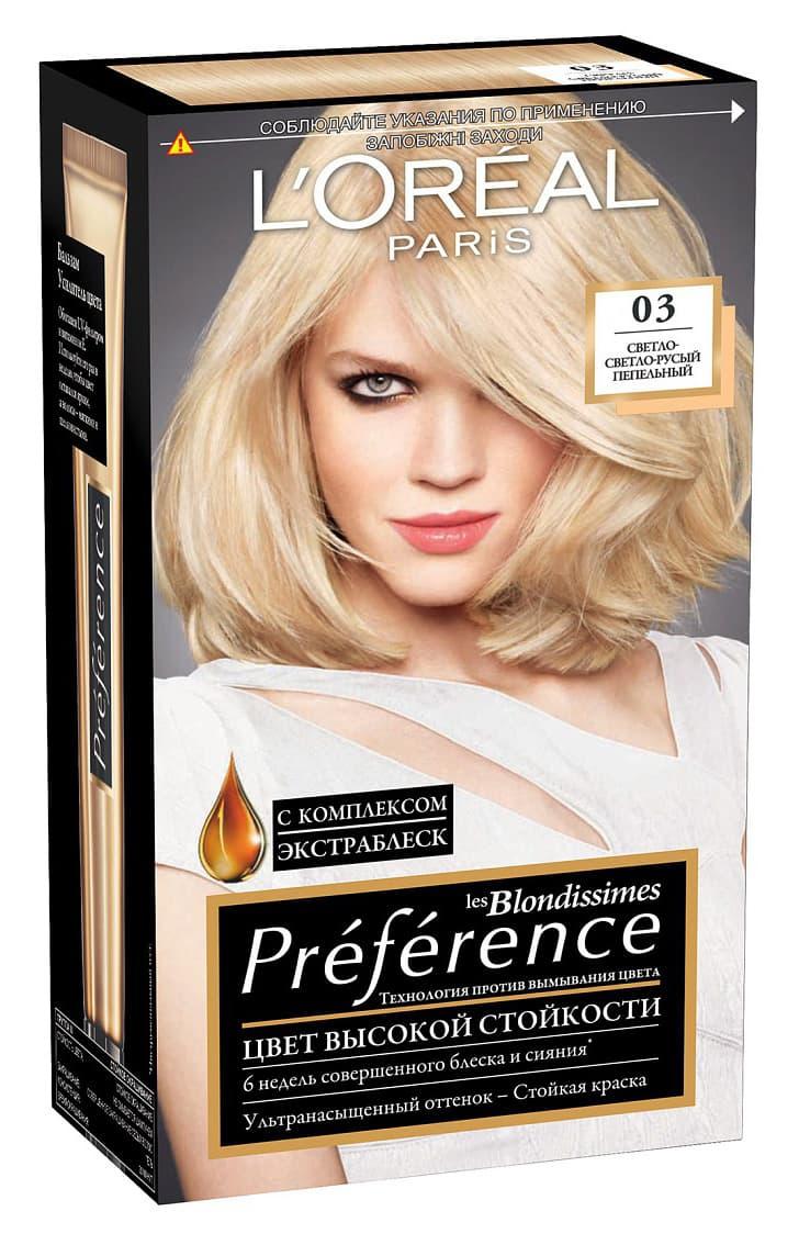 Preference Краска Для ВолосКраски для волос<br>L #39 Oreal Preference   Насыщенный стойкий цвет  который не потускнеет  Краска для волос Преферанс   это результат совместной работы лаборатории Л rsquo Ореаль Париж и профессионального колориста Кристофа Робина  Красящие вещества Преферанс более объемные по сравнению с классическими красками  поэтому они дольше удерживаются в структуре волос  обеспечивают стойкость цвета и полное закрашивание седины  В комплект входит бальзам Усилитель блеска для многократного применения  который не только смягчает волосы  но поддерживает блеск волос до 8 недель  В состав Преферанс входят запатентованные красящие вещества высокой устойчивости Благодаря своему объему  большему  чем у классических красящих веществ  они дольше удерживаются в структуре волос  обеспечивая глубокий  насыщенный  сияющий цвет в течение 8 недель  Особый бальзам Усилитель цвета  обогащенный UV-фильтром и витамином E  сохранит цвет ярким  подарит волосам мягкость и шелковистость<br>Type: № 03;