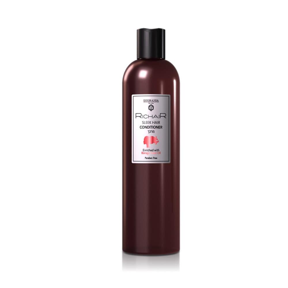 Richair Sleek Hair Кондиционер Для Гладкости И Блеска ВолосКондиционеры<br>Кондиционер предназначен для ухода и восстановления сухих  пористых  лишённых блеска волос  Благодаря содержанию масла огуречника лекарственного  эффективно восстанавливает уровень влаги в волосах  придавая эластичность и упругость  Комбинация натуральных масел восстанавливает и укрепляет структуру пористых волос  Натуральный гидролизованный кератин и морской коллаген придаёт волосам гладкость и блеск  защищает волосы от термического повреждения в момент укладки и негативных внешних факторов  Не содержит парабенов  Подходит для ежедневного использования  Идеально подходит для наращенных и химически выпрямленных волос<br>Type: 400 мл;