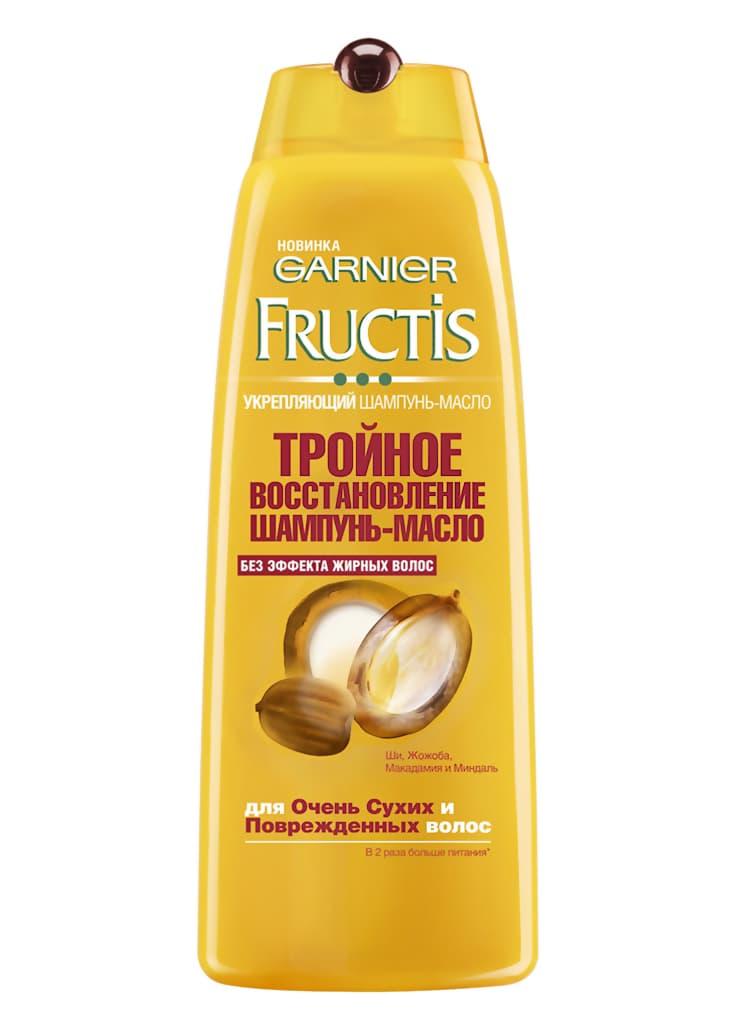 Fructis Шампунь-Масло Тройное ВоостановлениеШампуни<br>Формула шампунь-масла  обогащенная маслами Ши  Макадамии  Жожоба и Миндаля  интенсивно питает волокно волоса  восстанавливает силу  придает мягкость без эффекта жирных волос  Содержит 3-глицерид  для создания защитного барьера на поверхности волоса и сохранения питания на 48 часов<br>Type: 400 мл;