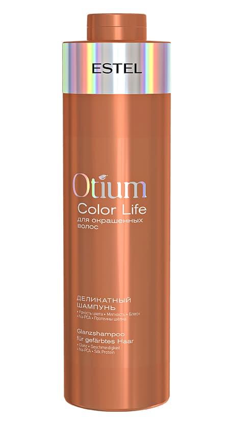 Otium Color Life Деликатный Шампунь Для Окрашенных ВолосШампуни<br>Деликатный шампунь для окрашенных волос Otium Color Life очищает волосы  подчёркивает богатство цвета и способствует сохранению яркости  Придаёт зеркальный блеск и мягкость волосам  Активные компоненты  Na-PCA  протеины шёлка  УФ-фильтр  Результат  яркость цвета  мягкость  блеск<br>Type: 1000 мл;