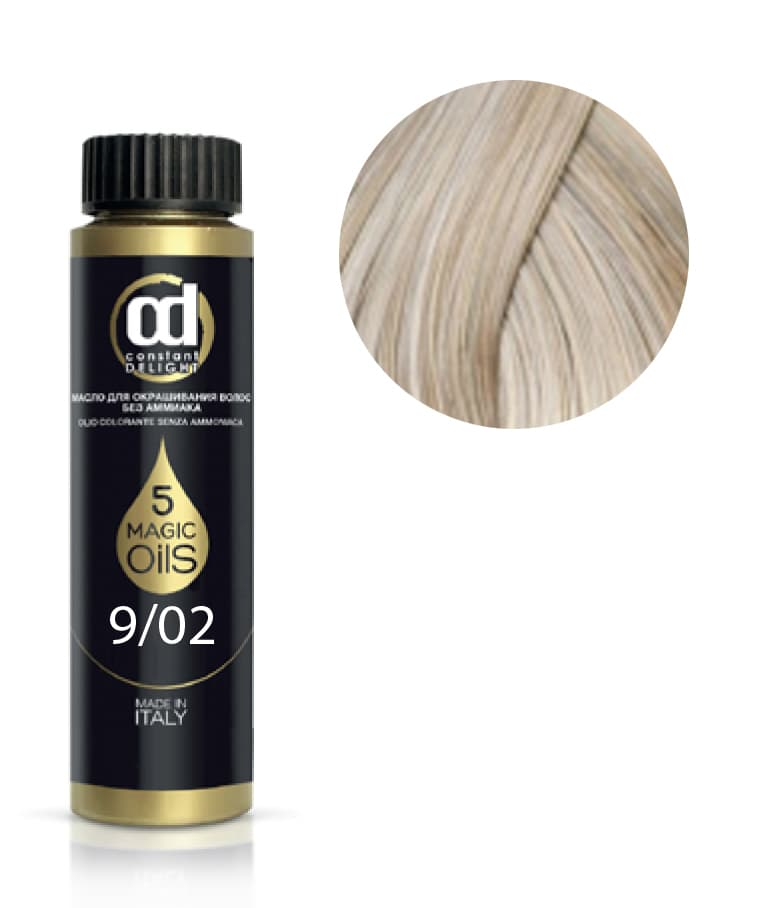 5 Magic Oils Olio Colorante Масло Для Волос Без АммиакаКраски для волос<br>Инновационная мультивитаминная система окрашивания волос 5 Magic Oils на основе 5 масел  МАСЛА АРГАНЫ  МАСЛА МАКАДАМИИ  МАСЛА АВОКАДО  МАСЛА ЖОЖОБА  МАСЛА ХЛОПКА  5 магических масел в составе красителя послойно закрепляют пигмент в структуре волоса и разглаживают кутикулярный слой  создавая тем самым волшебный многомерный мультитональный блеск  Питание и увлажнение волос в процессе окрашивания  стойкий  глубокий цветовой результат и палитра из 59 интенсивных модных оттенков  легко комбинируемых между собой для получения индивидуальных цветов  превращают OLIO COLORANTE в магический кристалл в руках мастера<br>Type: № 9.02 экстра светло-русый натуральный пепельный 50 мл;