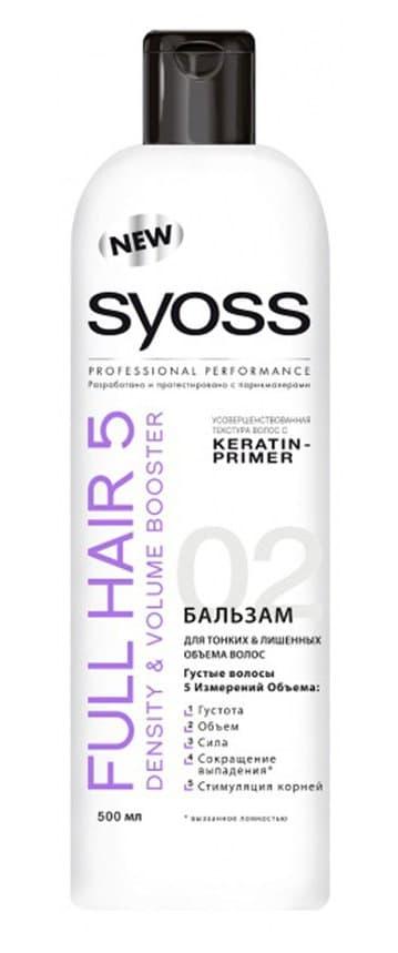 Full Hair 5D БальзамБальзамы<br>SYOSS FULL HAIR 5  разработанный специально для тонких и лишенных объема волос  профессиональный уход за волосами  направленный на улучшение пяти показателей здоровья волос  средства делают волосы более густыми  придают им объем  силу  сокращают выпадение волос  вызванное их ломкостью  а также стимулируют работу волосяных луковиц  Каждый день волосы будут выглядеть такими же густыми и роскошными  как после посещения салона  Бальзам бережно ухаживает  придавая силу и густоту  Делает поверхность волоса гладкой  облегчая расчесывание  Сокращает выпадение волос и активно стимулирует корни<br>Type: 500 мл;