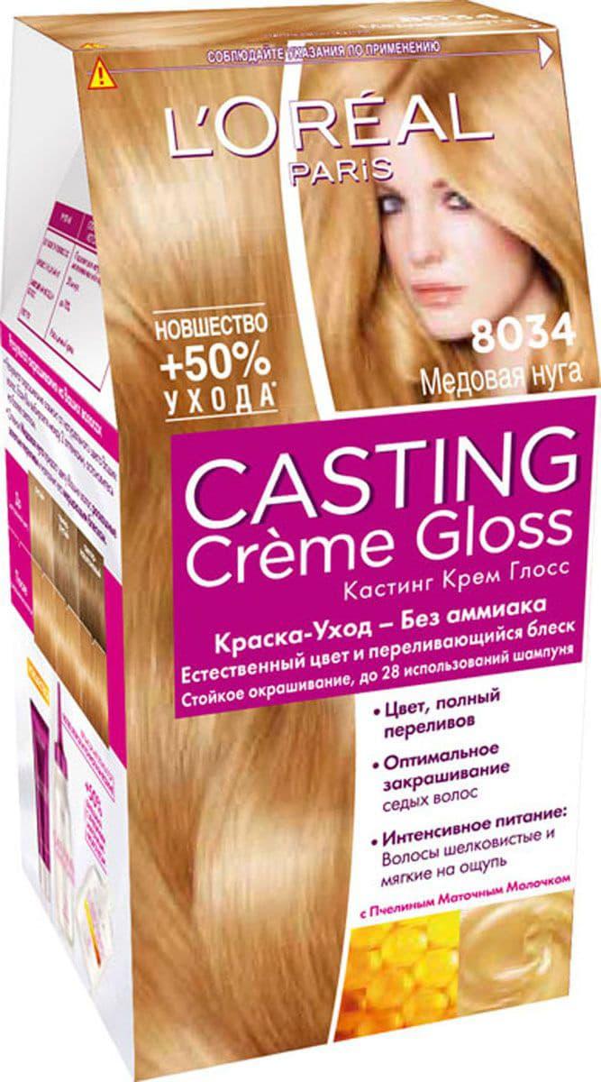 Casting Creme Gloss Краска Для ВолосКраски для волос<br>Крем-Краска Casting Creme Gloss не содержит аммиак и не вредит волосам  НаКрем-Краска Casting Cr egrave me Gloss не содержит аммиак и не вредит волосам  Наоборот  красящий крем обладает ухаживающими свойствами  а бальзам после окрашивания с Пчелиным Маточным Молочком разглаживает поверхность волос  Цвет Casting Creme Gloss держится на волосах до 28 использований шампуня  после чего волосы вновь обретут свой натуральный цвет  Эффекта  laquo отросших корней raquo  не стоит бояться  При отрастании волос переход между окрашенным и натуральным цветом становится плавным  в результате чего прическа начинает смотреться еще интереснее и объемнее  Краска Casting Cr egrave me Gloss изменяет цвет только видимой части волокна волоса  и не влияет на волосяную луковицу  Крем-краска придает волосам естественный соблазнительный цвет и ослепительный блеск<br>Type: № 8.034;