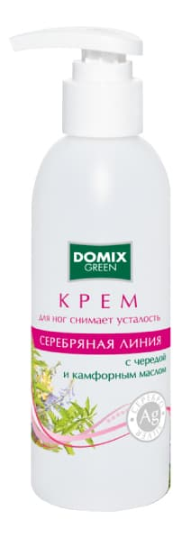 Domix Green Серебряная Линия Крем Для Снятия Усталости Ног С Чередой Камфрным Маслом И Наносеребром