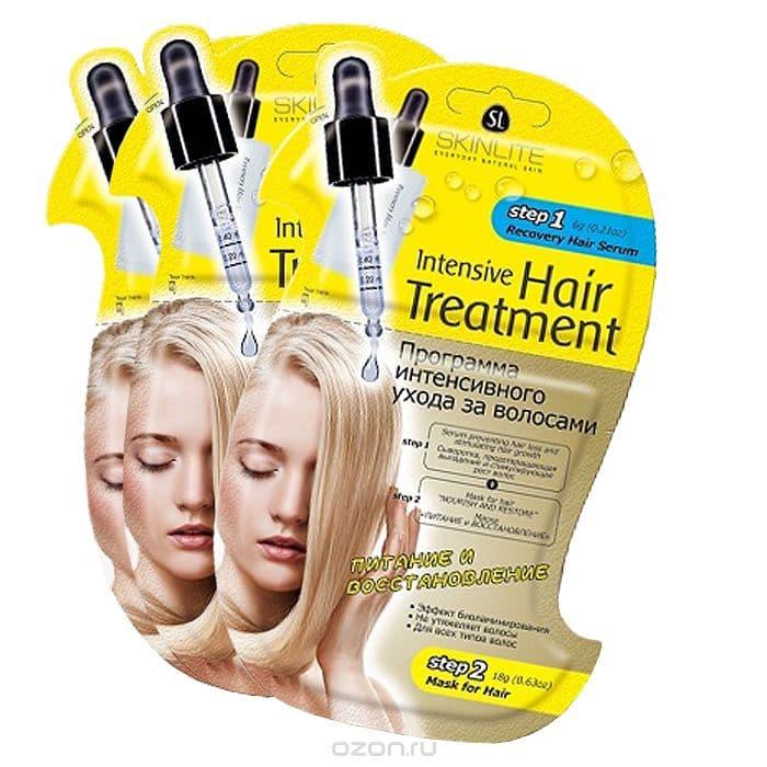 Intensive Hair Treatment Программа Интенсивного Ухода За Волосами Питание И Восстановление СывороткамаскаСыворотки<br>Описание от производителя Программа интенсивного ухода за волосами  Питание и восстановление  - это инновационная 2-х этапная программа  которая специально разработана для профессионального ухода за волосами в домашних условиях  Сочетает в себе интенсивное воздействие активных ингредиентов на кожу головы и волосы от корней до самых кончиков  Сыворотка  предотвращающая выпадение и стимулирующая рост волос  этап 1   Специально разработана для ухода за тонкими  ослабленными волосами  склонными к выпадению  Благодаря уникальной формуле  сыворотка стимулирует метаболические процессы  улучшает микроциркуляцию крови  пробуждает фолликулы  находящиеся в телагеновой спячке  качественно увеличивает количество растущих волос  Ускоряет рост  способствует оживлению  укреплению и регенерации волос  Сыворотка не содержит синтетических и гормональных добавок  подходит для всех типов волос  Маска  Питание и восстановление   этап 2   Создана специально для ухода за истощенными  сухими волосами  подвергшимися окраске  химической завивке или агрессивному воздействию солнечных лучей  Восстанавливает внутреннюю поврежденную структуру волос  наполняет их здоровьем и блеском  Уникальная формула маски содержит эффективные питательные и увлажняющие компоненты  Масло оливы питает  защищает и предотвращает  laquo пушение raquo  волос  Масло жожоба в сочетании с витаминами наполняют волосы жизненной силой и энергией  прекрасно сохраняет влагу  препятствуя ломкости и сухости волос  Маска способствует интенсивному восстановлению структуры волос  смягчает и возвращает им роскошный блеск  Волосы обретают силу  блеск и здоровый роскошный вид<br>
