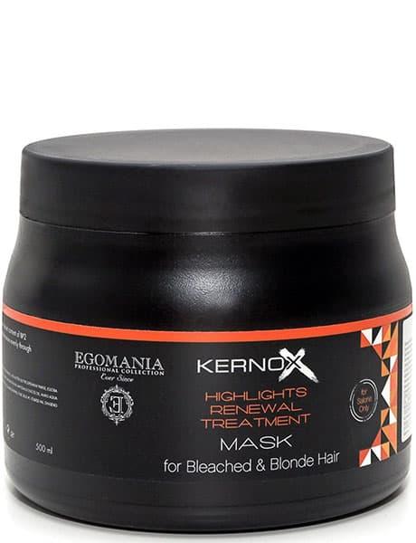 Kernox Mix Blond Silver Маска Для Обесцвеченных ВолосМаски<br>Egomania Professional Kernox Mix Blond Маска для обесцвеченных волос - Маска предназначена для поддержания и усиления холодных оттенков блонд и для интенсивного восстановления обесцвеченных  осветлённых и мелированных волос  Благодаря содержанию комплекса пептидов в сочетании с морским коллагеном  маска эффективно восстанавливает повреждённые осветлённые волосы  Пигмент растительного происхождения позволяет нейтрализовать нежелательные тёплые оттенки блонд  Активные ингредиенты  Экстракт женьшеня  масло сладкого миндаля  масло оливы  масло виноградных косточек   масло ши  масло жожоба  масло семян огуречника лекарственного  бурачника   масло аргана  протеины пшеницы  гидролизированный коллаген  Не содержит фталатов и парабенов<br>Type: 500 мл;